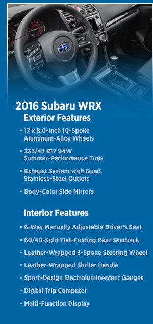 2016 Subaru WRX Features
