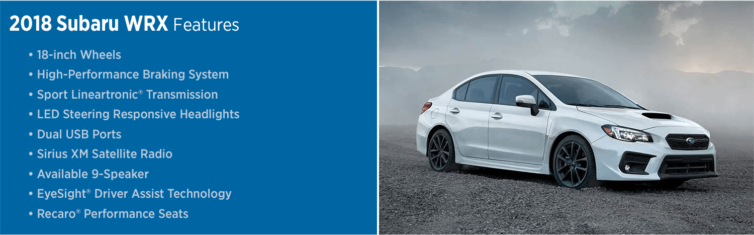 Review the New 2018 Subaru WRX Features List