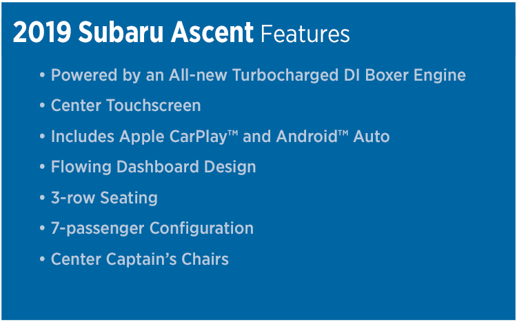 Learn more about the 2019 Subaru Ascent model features