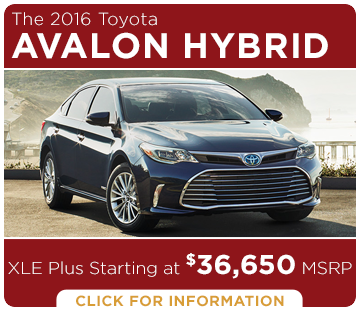 Click to learn more about the new 2016 Toyota Avalon Hybrid model