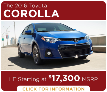 Click to Research The New 2016 Toyota Corolla Model in Tacoma, WA