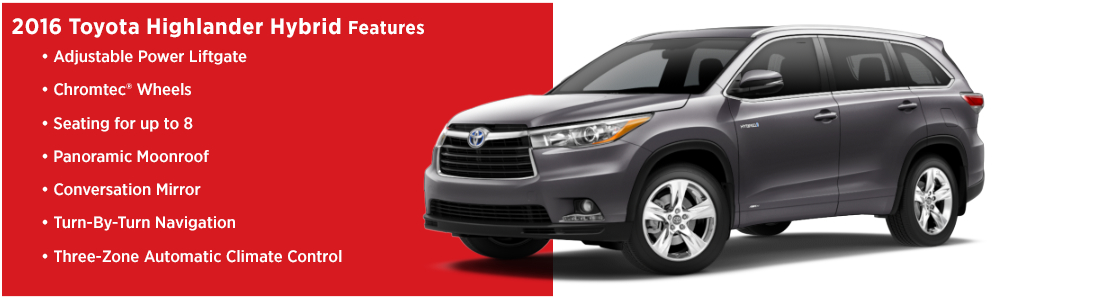 New 2016 Toyota Highlander Hybrid Model Features