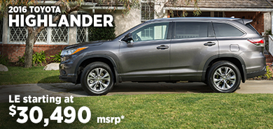 Click for 2016 Toyota Highlander Model Information serving Salem, Oregon