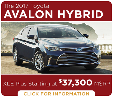 Click to learn more about the new 2017 Toyota Avalon Hybrid model