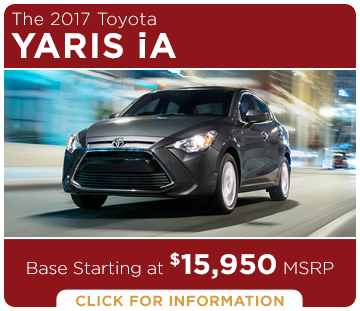 Click to learn more about the new 2017 Toyota Yaris iA model