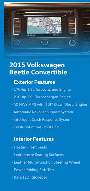 2015 Volkswagen Beetle Convertible Model Features