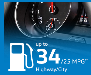 2015 VW Golf GTI get 34 mpg highway and 25 mpg city