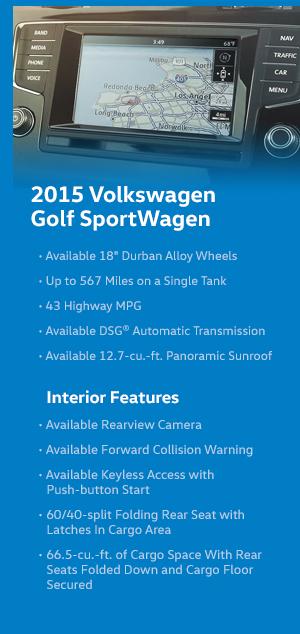 2015 Volkswagen Golf SportWagen Model Features