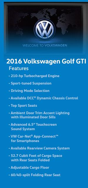 2016 Volkswagen Golf GTI Features
