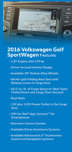 2016 Volkswagen Golf Sportwagen Features