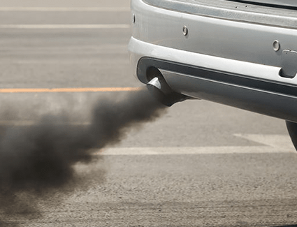 Black smoke from the tailpipe can indicate a rich fuel-air ratio