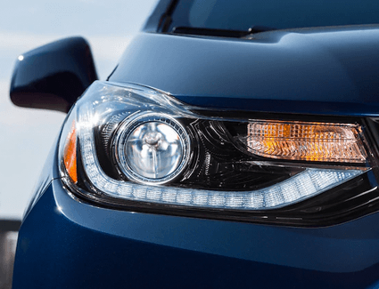 A close-up view of a Chevrolet vehicle's headlight