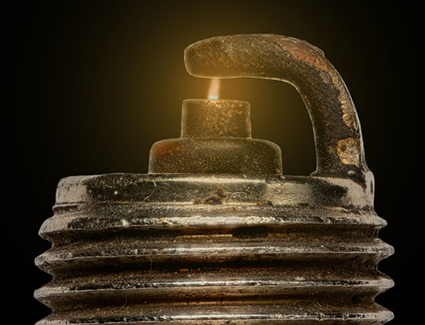 The tiny spark that jumps across the electrodes is all it takes to detonate the gasoline inside the engine's cylinders