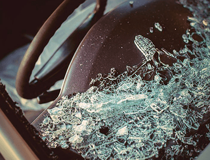 Shattered Car Windshield