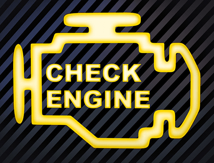A flashing check engine light can indicate major engine damage.