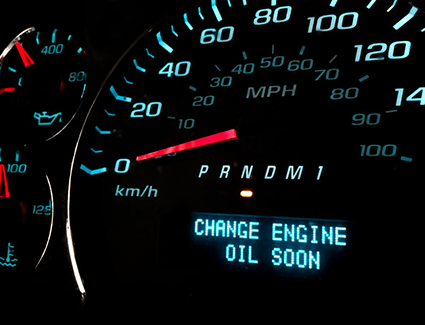 An alert in the dashboard of this car indicates to the driver that it's almost time for an oil change