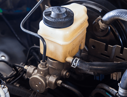 Brake fluid can leak from the area around the master cylinder or elsewhere