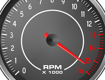 You should always avoid the red area on your vehicle's tachometer, and keep the RPMs below 4,000 when your vehicle is in its break-in period