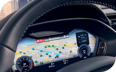 The available virtual cockpit replaces the ordinary gauges with a customizable video screen that can display things like navigation, shown here