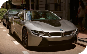 The BMW i8 has a low, wide stance for improve handling