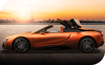 The BMW i8 Roadster includes a power-retractable soft top
