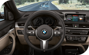 This BMW X2 is equipped with a modern touchscreen and available head-up display