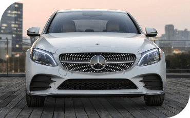 Front three-quarter view of the all-new 2021 Mercedes-Benz C-Class