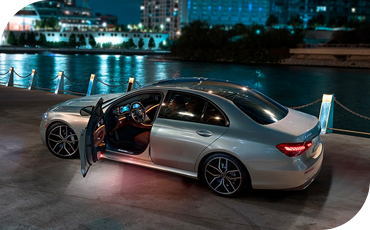 2021 Mercedes-Benz E-Class parked with the driver's door open