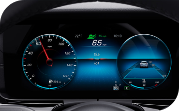 Digital display illustrating driver assistance features in the new E-Class
