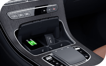 Center console of Mercedes-Benz GLC with wireless charging