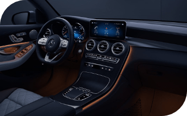 Interior view of Mercedes-Benz GLC from passenger seat