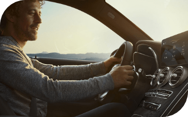Driver Behind The Wheel Of new Mercedes-Benz GLC