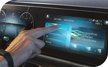 Digital display being operated with gesture controls