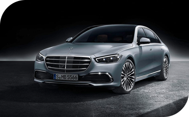 Front three-quarter view of the all-new 2021 Mercedes-Benz S-Class
