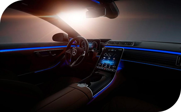 A sunrise as seen from the passenger seat of a 2021 Mercedes-Benz S-Class
