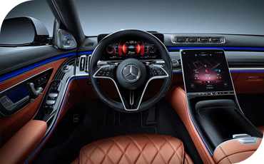 Blue ambient interior LED lighting in the 2021 Mercedes-Benz S-Class