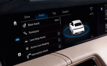 You can configure the driver assistance features of your Taycan Turbo through the infotainment system