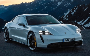 The four-point LED headlights lend the 2020 Porsche Taycan a space-age look