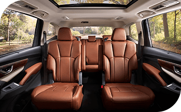 A view of the second and third rows of seating in the 2019 Subaru Ascent, with second-row captain's chairs.