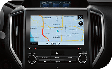 A close-up view of the touchscreen of a Subaru Crosstrek with a map displayed.