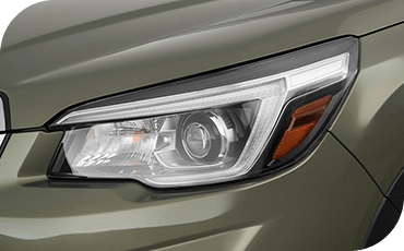 Standard LED headlights on the 2019 Forester provide a more natural beam of light that's closer to daylight than halogen headlamps.
