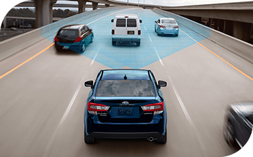 A blue cone illustrates how the Impreza helps to monitor traffic around you.