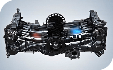 A cutaway model shows the unique layout of the Subaru BOXER engine.