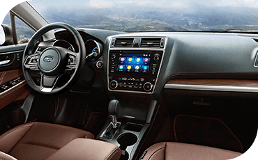 A view of the modern, connected intrior of the 2019 Subaru Outback, featuring a touchscreen display.