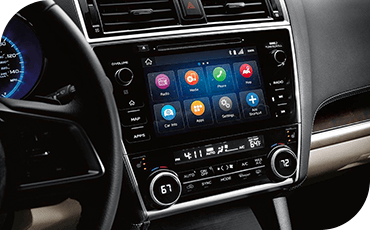 A close-up view of the touchscreen of a 2019 Subaru Outback, showing various apps.