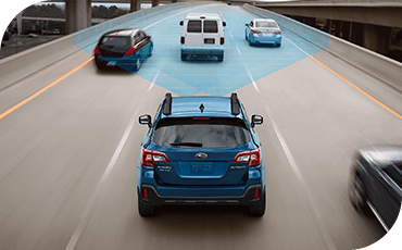 In this illustration, blue lines show how Subaru EyeSight monitors traffic around you.