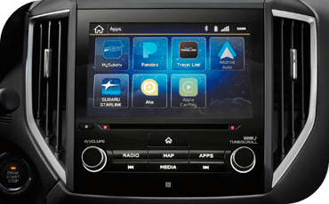 Close-up of the touchscreen in a Subaru Forester.