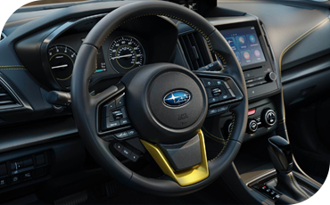 Crosstrek Sport models feature a steering wheel with a splash of exterior color for a more youthful look