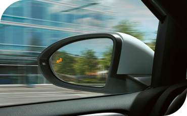 Driver assistance technology like the blind spot monitor help prevent crashes in the VW Golf