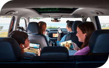Family inside a 2020 VW Jetta